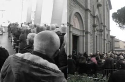 L' ultimo saluto dei camuciesi  ad Alfredino nella sua chiesa di Cristo Re.