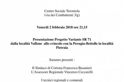Incontro pubblico a Terontola sul progetto della Variante alla Sr71