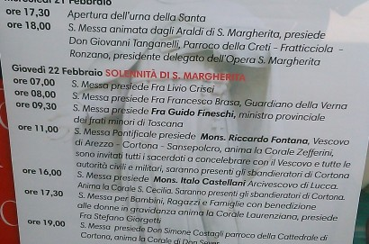 Giovedì 22 febbraio Festa  di Santa Margherita.