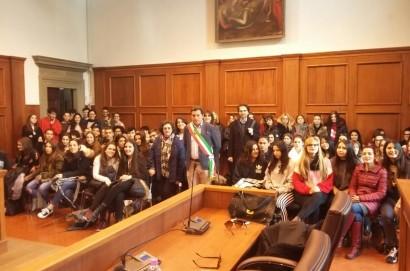Studenti spagnoli ricevuti ieri in comune a Castiglion Fiorentino