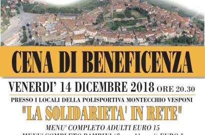"""""""Cena di Beneficenza"""" pro Caritas.  Venerdì 14 dicembre ore 20.30 Polisportiva Montecchio Vesponi"""