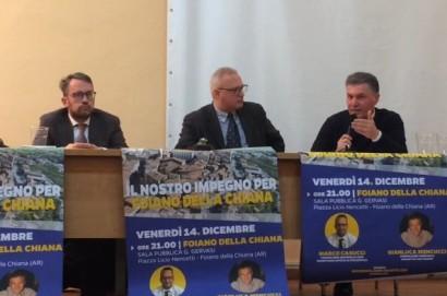 Il Consigliere regionale Marco Casucci (Lega) ed il consigliere comunale Gianluca Mencucci hanno incontrato la cittadinanza a Foiano della Chiana