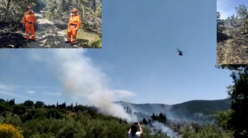 Incendio in corso sulle colline di Pergo