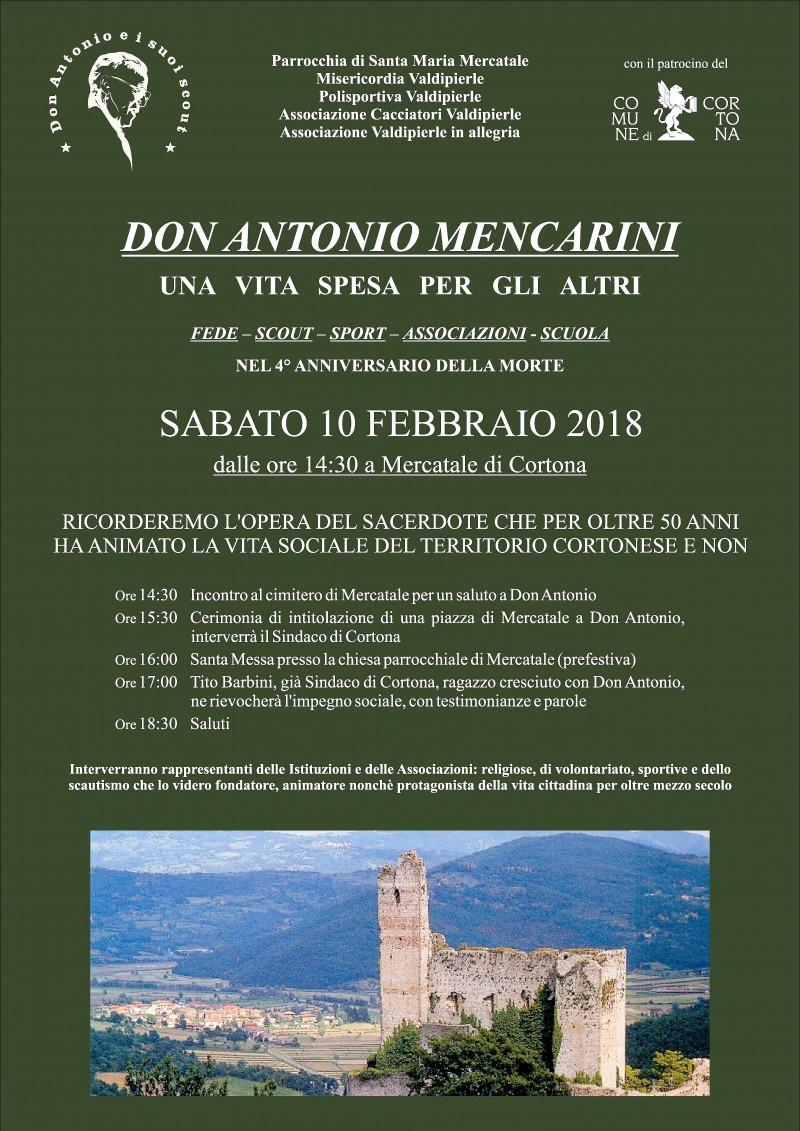 Una piazza per Don Antonio Mencarini a Mercatale di Cortona