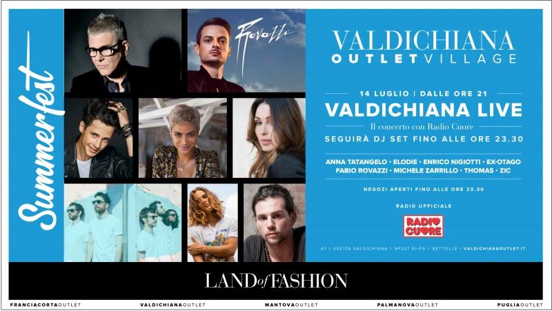 Valdichiana Outlet Village:  brillano le stelle della musica nella grande notte di Valdichiana Live