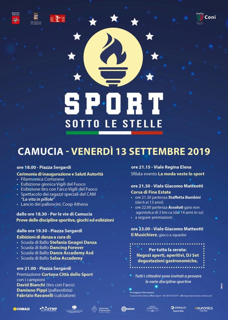"""Il 13 settembre a Camucia C'è """"Sport sotto le Stelle"""" - Scarica il programma della manifestazione"""